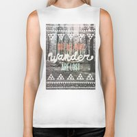 white Biker Tanks featuring Wander by Wesley Bird