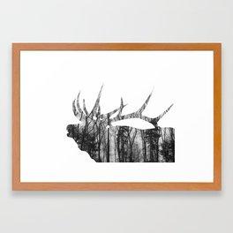 Elk Silhouette (in the trees) Framed Art Print