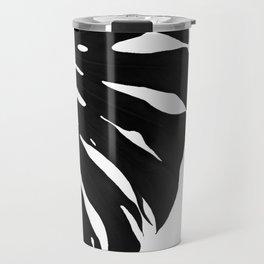 Black Banana Leaf (Black and White) Travel Mug
