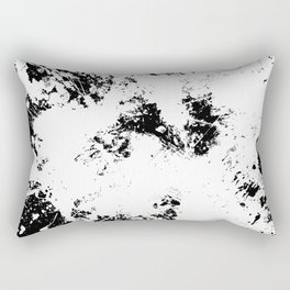 Spilt White Textured Black And White Abstract Painting Rectangular Pillow