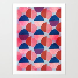 Geometric Abstract Half Round Pattern Art Print