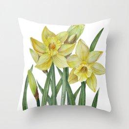 Watercolor Daffodils Botanical Illustration Throw Pillow