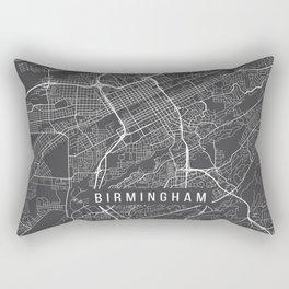 Birmingham Map, Alabama USA - Charcoal Portrait Rectangular Pillow