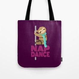 Funny Nap Dance Neon Sign Cute Sloth Pole Dancer Tote Bag
