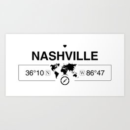 Nashville Tennessee Map GPS Coordinates Artwork with Compass Art Print