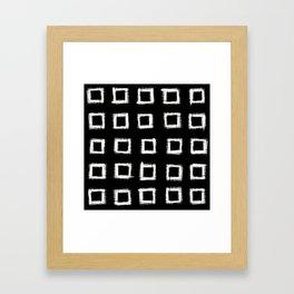 Square Stroke Dots White on Black Framed Art Print