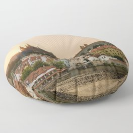 Prague Castle and Vltava river at sunset Floor Pillow