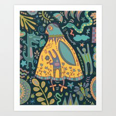 Chatty Yellow Bird Art Print