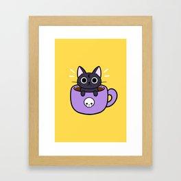 Happy Coffee Cat Framed Art Print