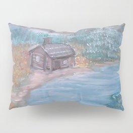 Mountian Cabin in Wildflowers Pillow Sham