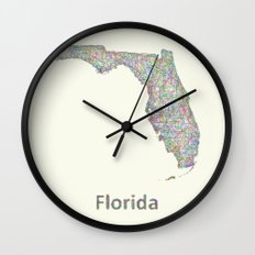 Florida map Wall Clock