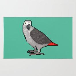 Pixel / 8-bit Parrot: Congo African Grey Rug