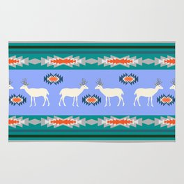 Decorative Christmas pattern with deer II Rug