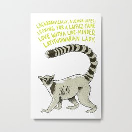 L is for Ludic - Ring-tail Lemur on White Metal Print
