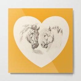 I LOVE HORSES - Saffron  Metal Print