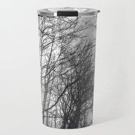 Black and white misty forest Travel Mug