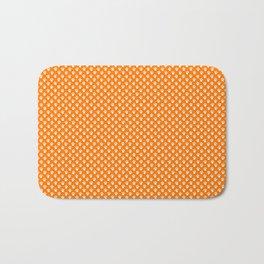 Tiny Paw Prints Pattern - Bright Orange & White Bath Mat