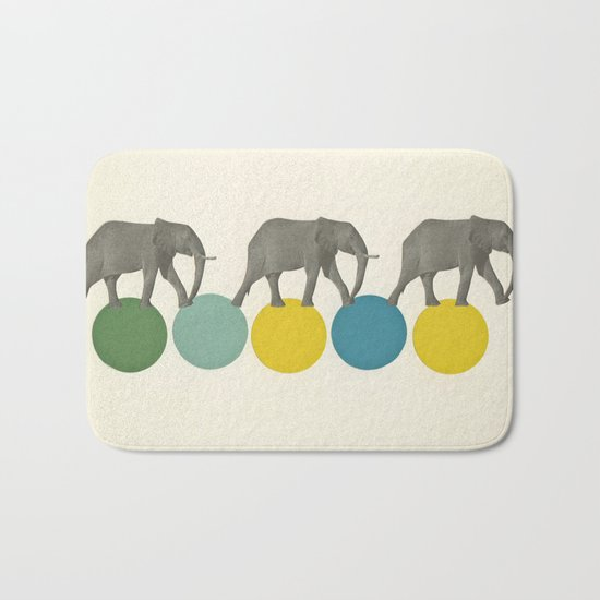 Travelling Elephants Bath Mat