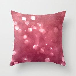Elegant glam burgundy red bokech glitter gradient  Throw Pillow