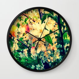 Painted Flowers Wall Clock