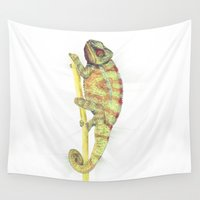 chameleon Wall Tapestries featuring chameleon by merry