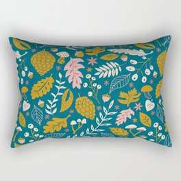 Fall Folige in Blue and Gold Rectangular Pillow