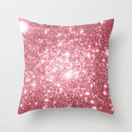 Pink Sparkle Stars Throw Pillow