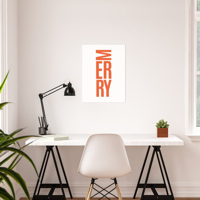 Red Sideways Merry Poster