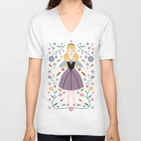 aurora V-neck T-shirts featuring Aurora by Carly Watts
