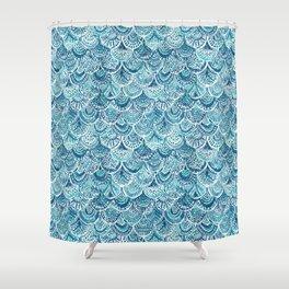 SPLASH Blue Watercolor Mermaid Scales Shower Curtain