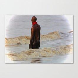 Gormley Statue in the Surf (Digital Art) Canvas Print