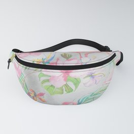 Pink lilac green watercolor hand painted tropical floral flamingos Fanny Pack