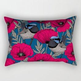 Fairy wren and poppies Rectangular Pillow
