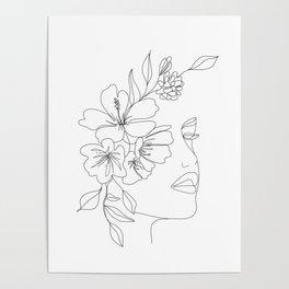 Minimal Line Art Woman Face II Poster