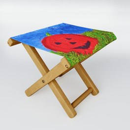 """Ethan's Pumpkin #2"" with Poem: Faces Of Friends"" Folding Stool"