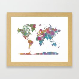 World Map - Watercolor 3 Framed Art Print