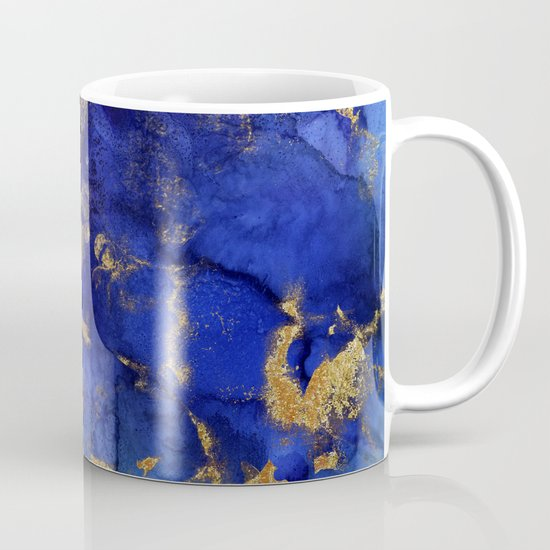 Gold And Blue Indigo Malachite Marble by originalaufnahme