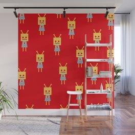 Shy Little Robot (red) Wall Mural