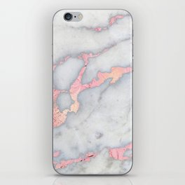 Rosegold Pink on Gray Marble Metallic Foil Style iPhone Skin