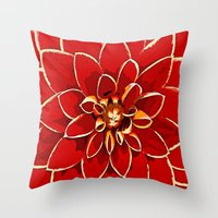 dahlia Throw Pillows featuring Dahlia by Saundra Myles