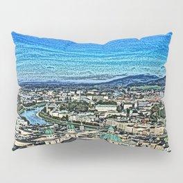 Austria - drawing Salzburg 2 Pillow Sham