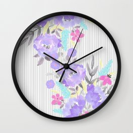 Watercolor violet pink gray stripes floral Wall Clock