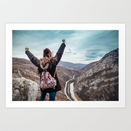 Tourist on the peak of high rocks. Big canyon on Balkan peninsula Art Print