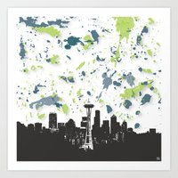 seahawks Art Prints featuring Seahawks Seattle Skyline by Blythe Green