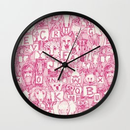animal ABC pink ivory Wall Clock