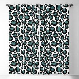 Teal Leopard Animal Print Pattern Blackout Curtain