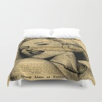 newspaper Duvet Covers featuring Marilyn newspaper by Teo Designs