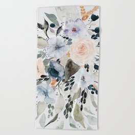 Loose Blue and Peach Floral Watercolor Bouquet  Beach Towel