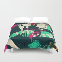 hat Duvet Covers featuring Black Hat by edwinservaas