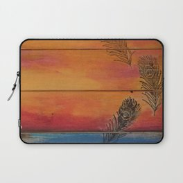 Rising Sun. My Orginal Abstract Painting by Jodilynpaintings. Abstract Sunset With Feathers. Beach Laptop Sleeve